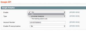 Disabling Google Analytics tracking in Magento via Google API