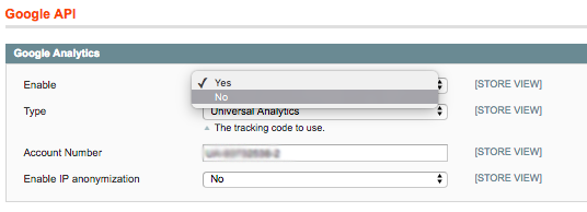 Disabling Google Analytics tracking in Magento via Google API
