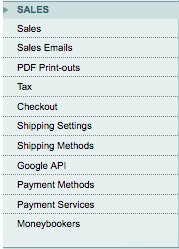 Magento sales section in system configuration